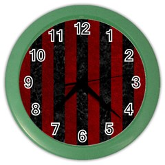 Stripes1 Black Marble & Red Grunge Color Wall Clocks by trendistuff
