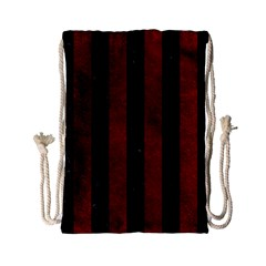 Stripes1 Black Marble & Red Grunge Drawstring Bag (small) by trendistuff