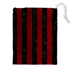 Stripes1 Black Marble & Red Grunge Drawstring Pouches (xxl) by trendistuff