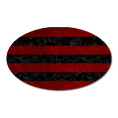 Stripes2 Black Marble & Red Grunge Oval Magnet by trendistuff