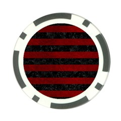 Stripes2 Black Marble & Red Grunge Poker Chip Card Guard by trendistuff