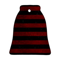 Stripes2 Black Marble & Red Grunge Ornament (bell) by trendistuff