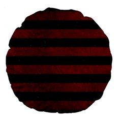 Stripes2 Black Marble & Red Grunge Large 18  Premium Flano Round Cushions by trendistuff