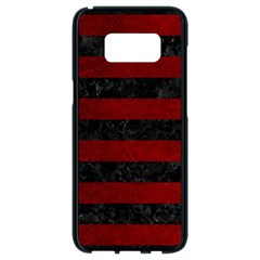 Stripes2 Black Marble & Red Grunge Samsung Galaxy S8 Black Seamless Case by trendistuff
