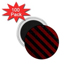 Stripes3 Black Marble & Red Grunge 1 75  Magnets (100 Pack)  by trendistuff