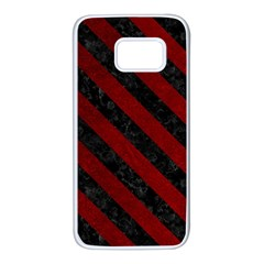 Stripes3 Black Marble & Red Grunge Samsung Galaxy S7 White Seamless Case by trendistuff