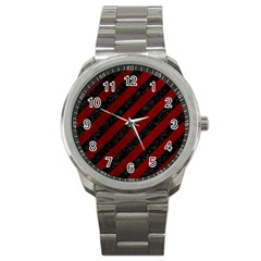 Stripes3 Black Marble & Red Grunge (r) Sport Metal Watch by trendistuff
