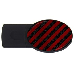 Stripes3 Black Marble & Red Grunge (r) Usb Flash Drive Oval (4 Gb) by trendistuff