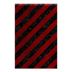 Stripes3 Black Marble & Red Grunge (r) Shower Curtain 48  X 72  (small)  by trendistuff