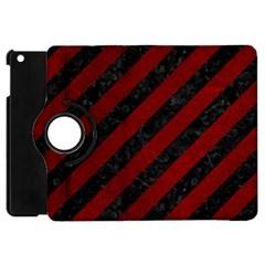 Stripes3 Black Marble & Red Grunge (r) Apple Ipad Mini Flip 360 Case by trendistuff