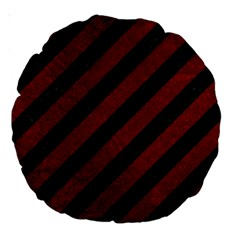 Stripes3 Black Marble & Red Grunge (r) Large 18  Premium Round Cushions by trendistuff