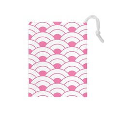 Art Deco Shell Pink White Drawstring Pouches (medium)  by 8fugoso