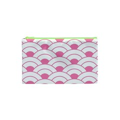 Art Deco Shell Pink White Cosmetic Bag (xs) by 8fugoso