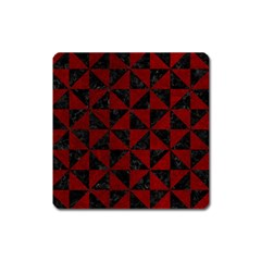 Triangle1 Black Marble & Red Grunge Square Magnet by trendistuff