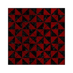Triangle1 Black Marble & Red Grunge Acrylic Tangram Puzzle (6  X 6 ) by trendistuff