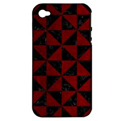 Triangle1 Black Marble & Red Grunge Apple Iphone 4/4s Hardshell Case (pc+silicone) by trendistuff