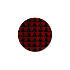 Triangle2 Black Marble & Red Grunge Golf Ball Marker by trendistuff