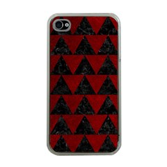 Triangle2 Black Marble & Red Grunge Apple Iphone 4 Case (clear) by trendistuff