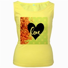 Modern Collage Shabby Chic Women s Yellow Tank Top by 8fugoso
