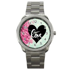 Modern Collage Shabby Chic Sport Metal Watch by 8fugoso