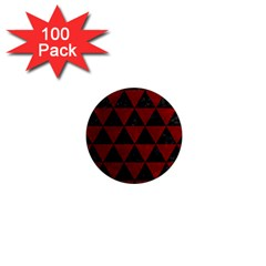 Triangle3 Black Marble & Red Grunge 1  Mini Magnets (100 Pack)  by trendistuff