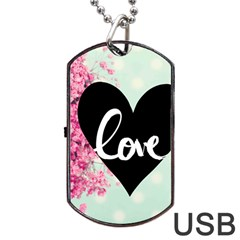 Modern Collage Shabby Chic Dog Tag Usb Flash (one Side) by 8fugoso