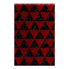 Triangle3 Black Marble & Red Grunge Shower Curtain 48  X 72  (small)  by trendistuff