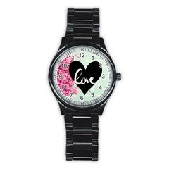 Modern Collage Shabby Chic Stainless Steel Round Watch by 8fugoso
