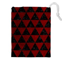 Triangle3 Black Marble & Red Grunge Drawstring Pouches (xxl) by trendistuff