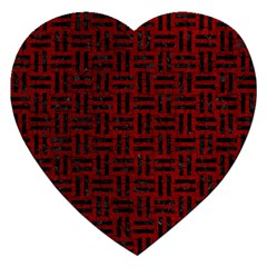 Woven1 Black Marble & Red Grunge Jigsaw Puzzle (heart) by trendistuff