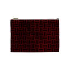 Woven1 Black Marble & Red Grunge Cosmetic Bag (medium)  by trendistuff