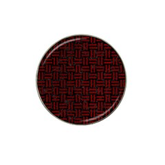 Woven1 Black Marble & Red Grunge (r) Hat Clip Ball Marker (4 Pack) by trendistuff