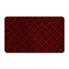 Woven2 Black Marble & Red Grunge Magnet (rectangular) by trendistuff