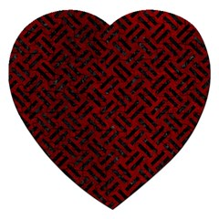 Woven2 Black Marble & Red Grunge Jigsaw Puzzle (heart) by trendistuff