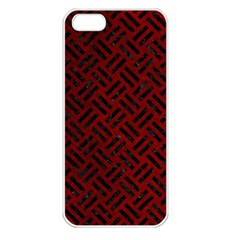 Woven2 Black Marble & Red Grunge Apple Iphone 5 Seamless Case (white) by trendistuff