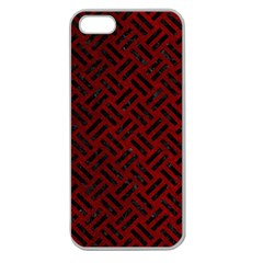 Woven2 Black Marble & Red Grunge Apple Seamless Iphone 5 Case (clear) by trendistuff