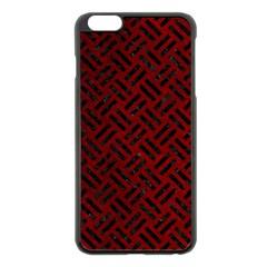 Woven2 Black Marble & Red Grunge Apple Iphone 6 Plus/6s Plus Black Enamel Case by trendistuff