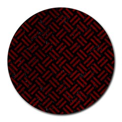 Woven2 Black Marble & Red Grunge (r) Round Mousepads by trendistuff