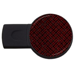 Woven2 Black Marble & Red Grunge (r) Usb Flash Drive Round (2 Gb) by trendistuff