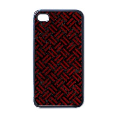 Woven2 Black Marble & Red Grunge (r) Apple Iphone 4 Case (black) by trendistuff