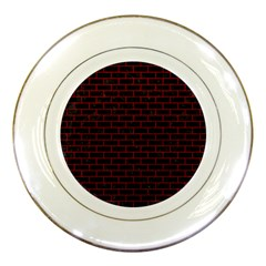 Brick1 Black Marble & Red Leather (r) Porcelain Plates by trendistuff