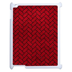 Brick2 Black Marble & Red Leather Apple Ipad 2 Case (white) by trendistuff