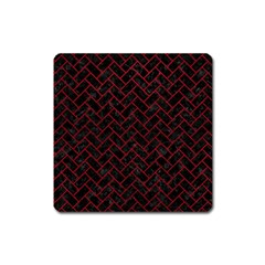 Brick2 Black Marble & Red Leather (r) Square Magnet by trendistuff