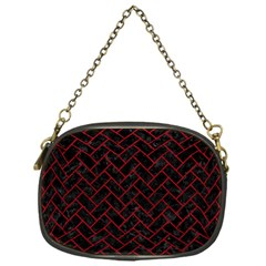 Brick2 Black Marble & Red Leather (r) Chain Purses (one Side)  by trendistuff