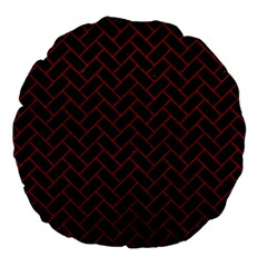 Brick2 Black Marble & Red Leather (r) Large 18  Premium Flano Round Cushions by trendistuff