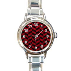 Chevron1 Black Marble & Red Leather Round Italian Charm Watch by trendistuff