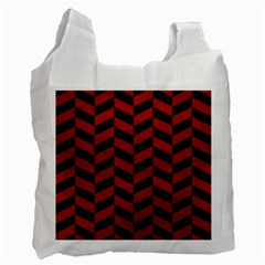 Chevron1 Black Marble & Red Leather Recycle Bag (two Side)  by trendistuff