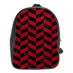 Chevron1 Black Marble & Red Leather School Bag (large) by trendistuff