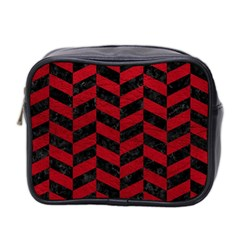 Chevron1 Black Marble & Red Leather Mini Toiletries Bag 2 Side by trendistuff