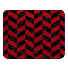 Chevron1 Black Marble & Red Leather Double Sided Flano Blanket (large)